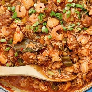 Creole Shrimp and Chicken Jambalaya w/ Festive Rice and Beans (for 1)
