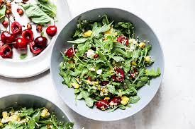 Summer Recharge Salad II: Greens, Farro, Tillamook Cheddar, Dried Cherries, Walnut Crumble, Palisade Peach-Caramel Vinaigrette (for 1)