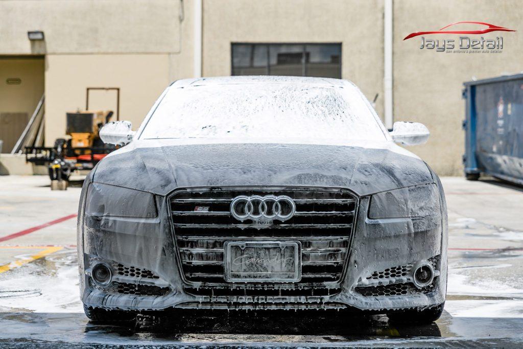 Black Audi S8's Finish Resurrected & Protected with SunTek & Cquartz 2