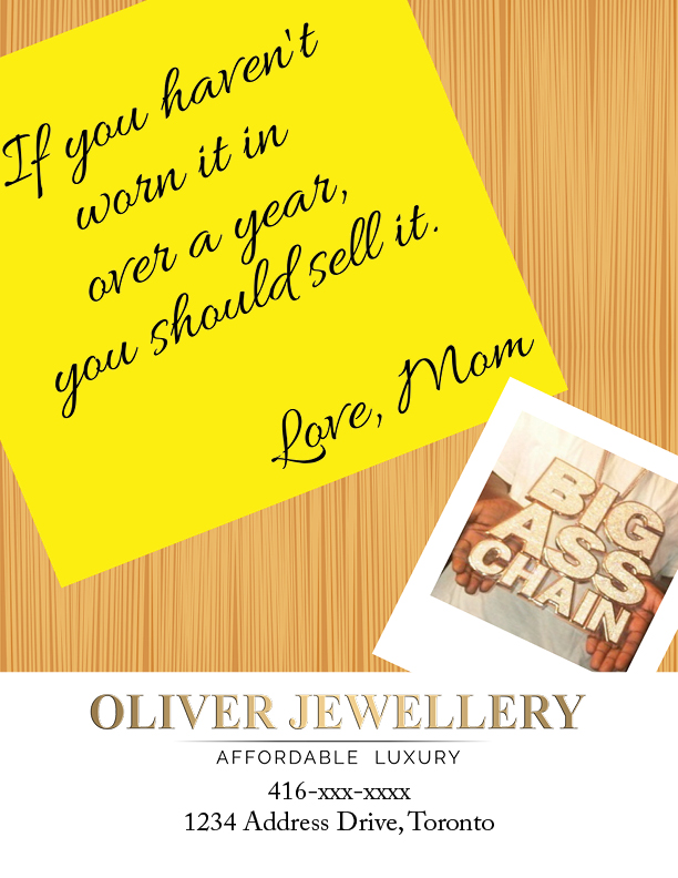 spec ad for oliver jewellery - sell it