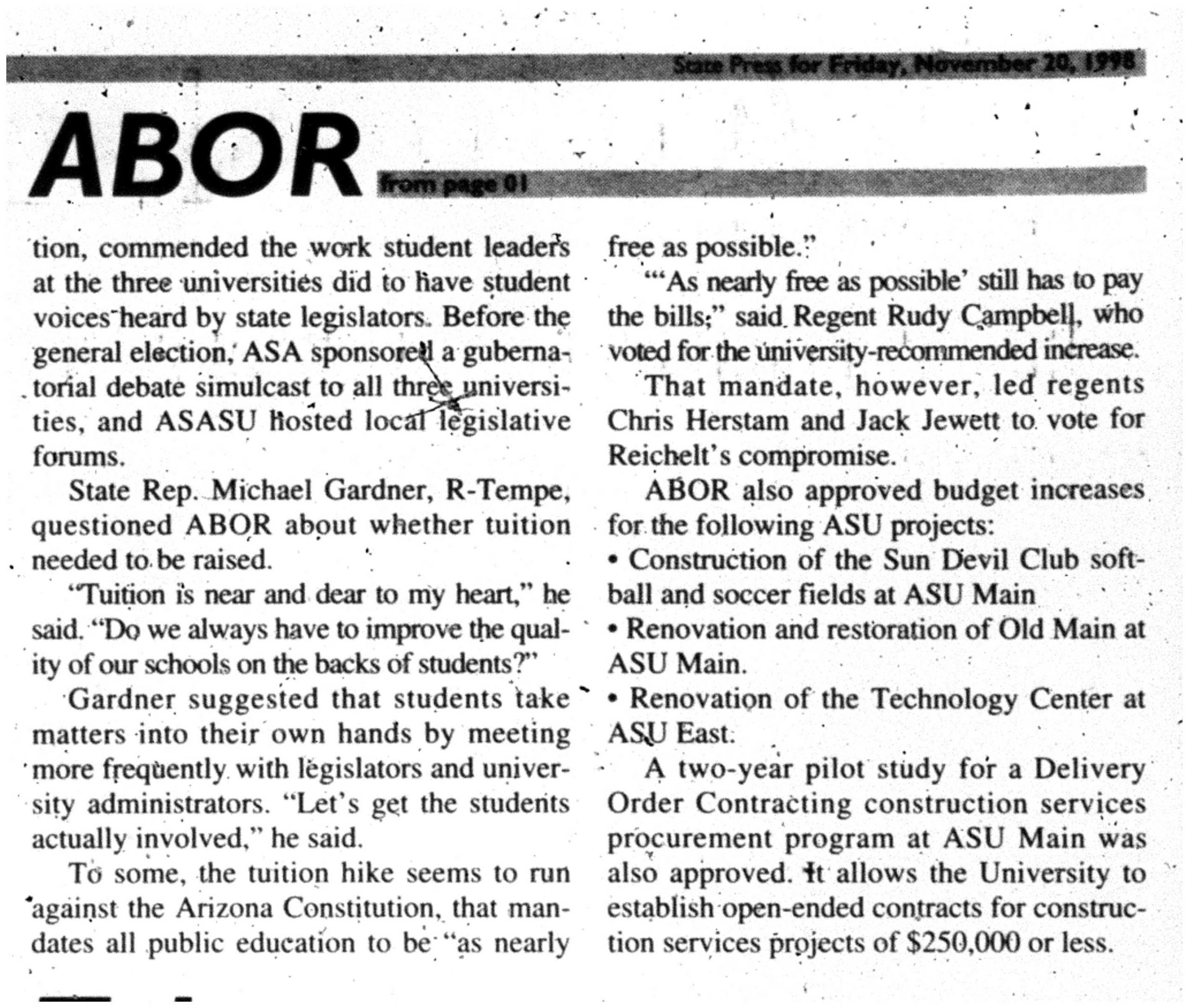 ABOR approves 5 percent tuition hike