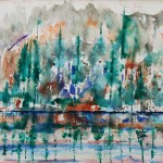 Colorful watercolor depiction of Wrights Lake