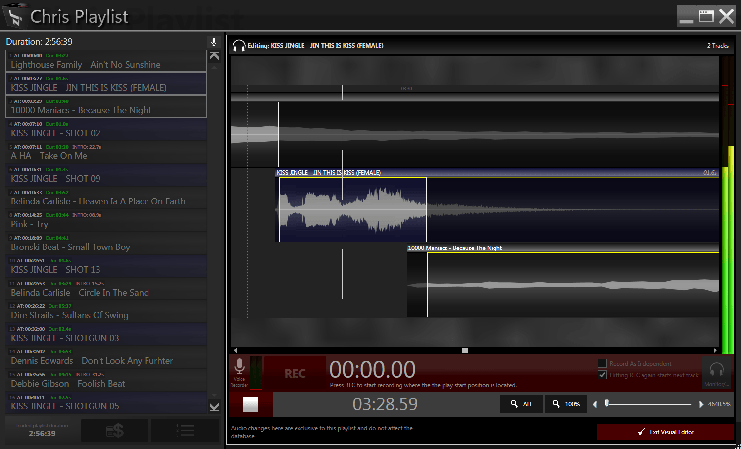 In SOHO playlist editing you can also easily adjust mix points of your tracks and also record voice tracks for your manual playlist.