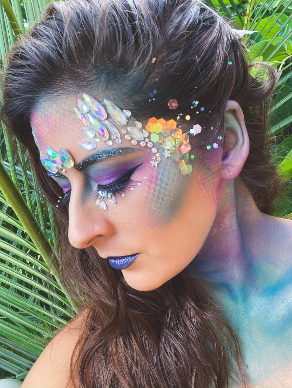 Mermaid Makeup with rhinestones