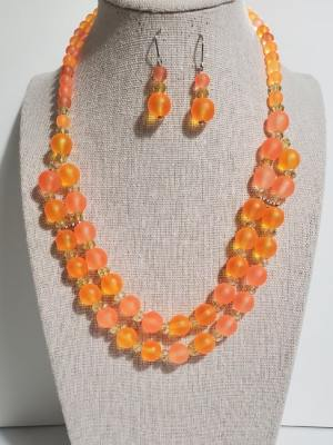 Color Blocked Double Strand Necklace with Earrings