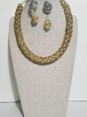 Golden Woven Necklace and Earring Set