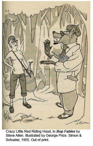 Cartoon of crazy red riding hood meeting hip jazzy wolf