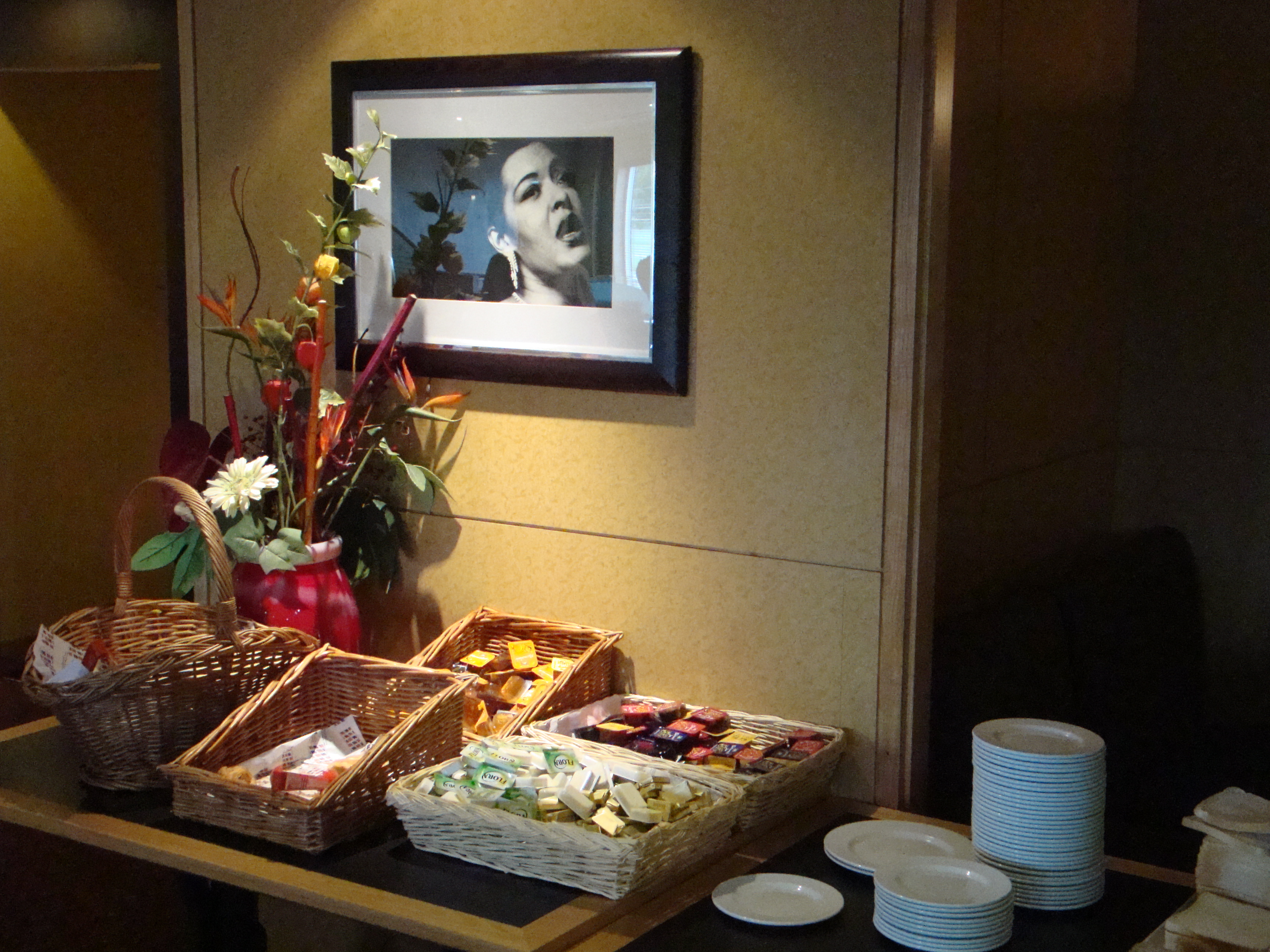 Whose honey are you?  In the hotel breakfast bar, Billie oversees the butter, buttery spread, jam, and honey