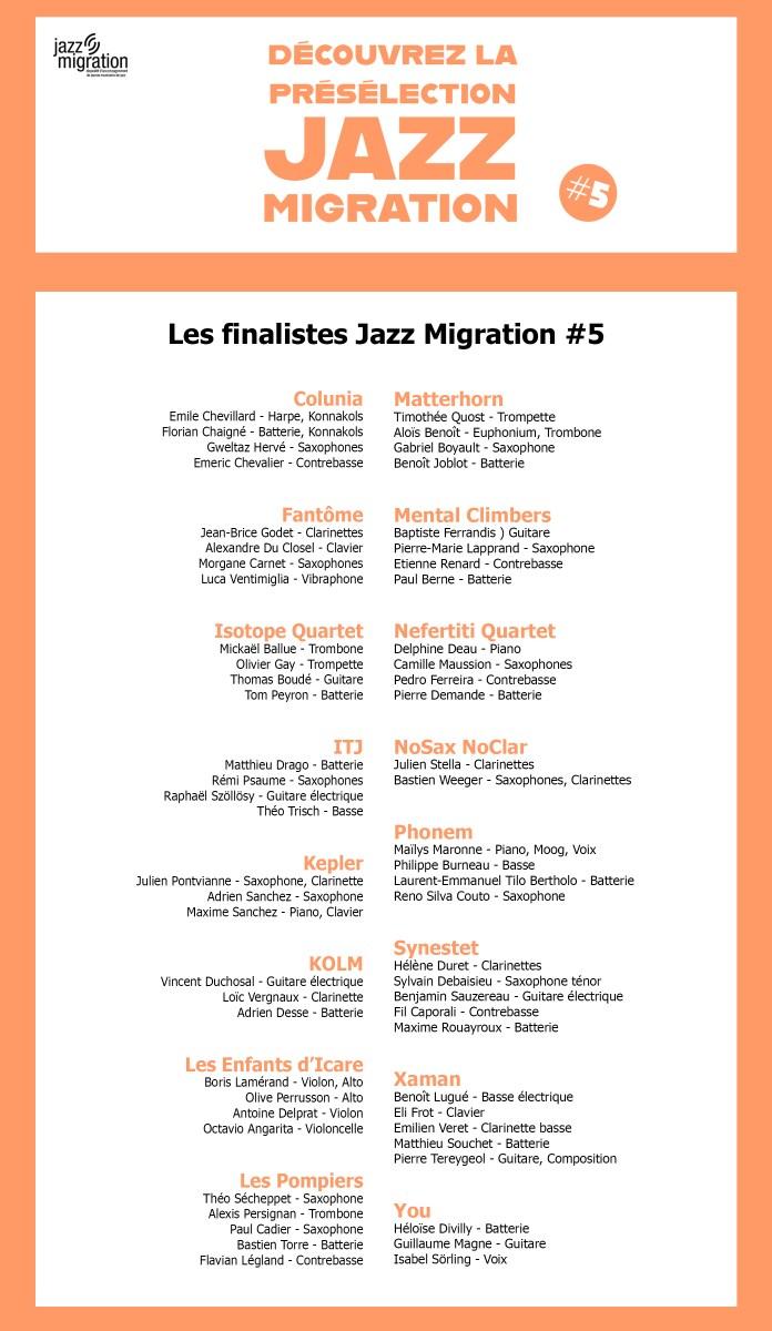 Présélection Jazz Migration : les 16 groupes de finalistes
