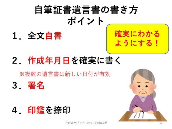自筆証書遺言書の書き方(法的4要件)。