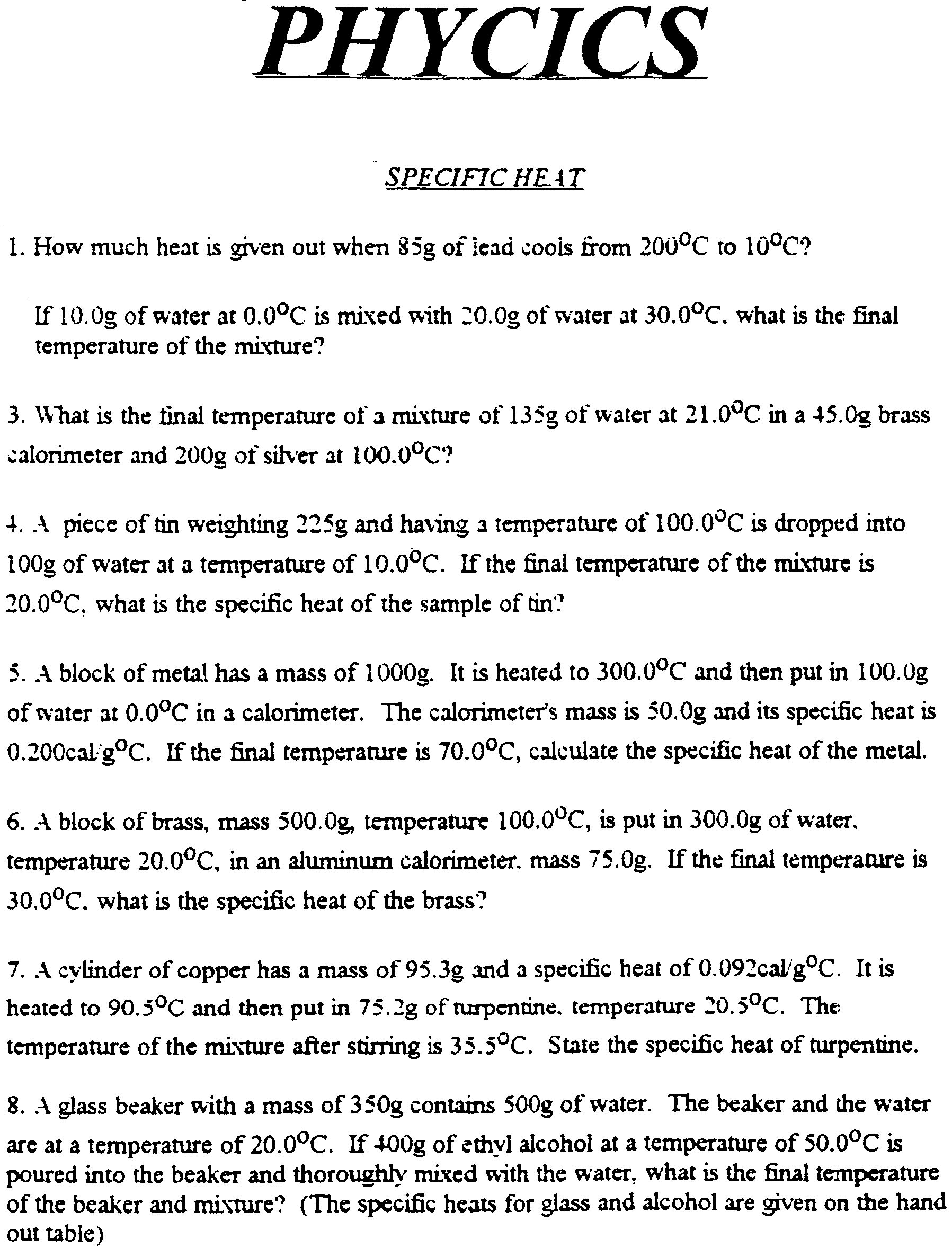 Worksheet Specific Heat Worksheet Grass Fedjp Worksheet