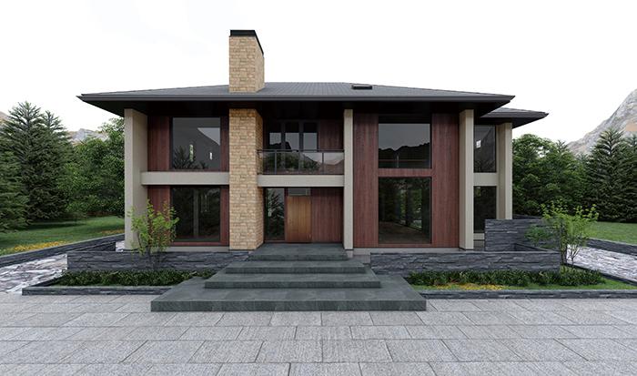 垂直の個性をもった邸宅「ペーゼルドルフ プレミアム」 石が積みあがるような縦方向の力強さとラグジュアリー感を表現 無機質な塗り壁と、有機質な木の組合せが意外性をつくデザイン
