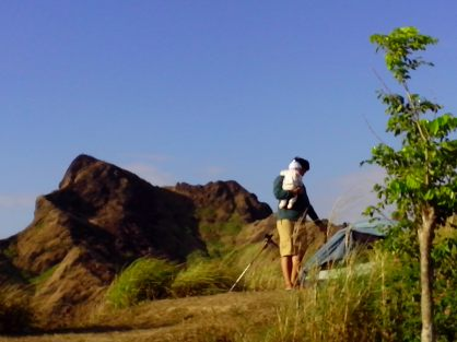 Batulao New Trail Camping Area. Father and Baby