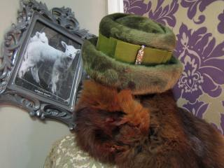 50s hat and fox fur