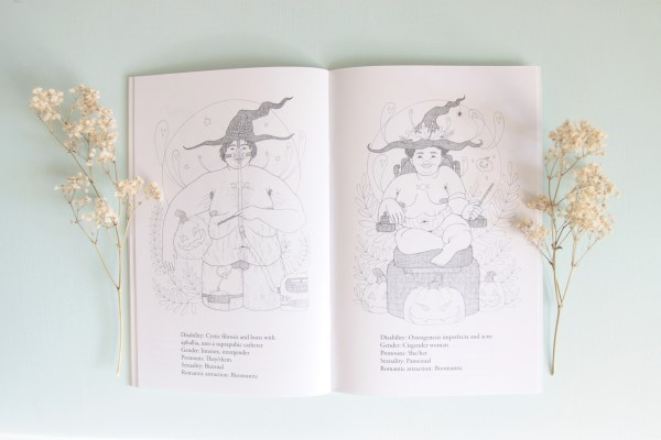 A styled photo of two pages inside the Disabled Witches art book showing two illustrations in black and white with a text bio under each illustration.