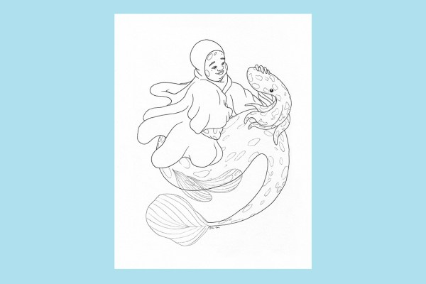 A black and white illustration of a fat, spotted, disabled, Muslim merperson wearing a floating hijab and smiling while petting a squid who is also spotted.