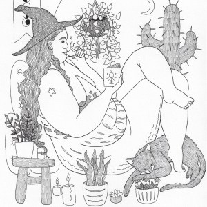 A photo of a black and white illustration of a fat, nude witch wearing a witch's hat, sitting in a reclined position with one leg propped up on the knee of the other. They are sipping tea while reading from a tiny book with a sigil on it. They're sitting in a room filled with plants and with a circular window behind them. At their feet is a cat, sleeping while slightly curled up with its front paw poking out toward the witch. The witch has lots of stretch marks and a large birthmark, as well as a small star tattoo on their upper arm and cellulite on their legs. Their cane lies near them on the floor by more potted plants.