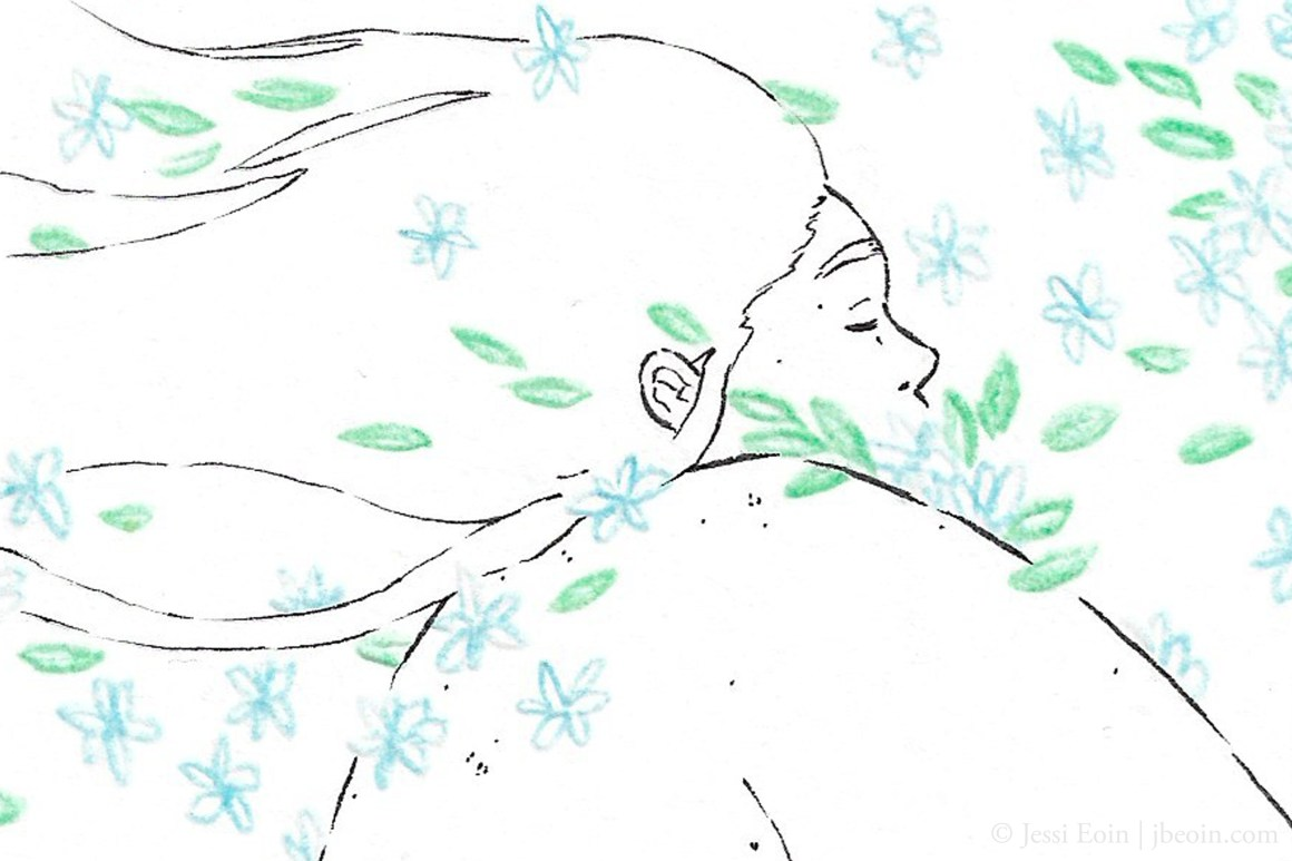A photo of a minimalist illustration of a fat, nude person seen from slightly behind as they calmly close their eyes and embrace a flurry of blue flowers flying past them and landing on their body. The person is drawn with black ink, and they have a lot of stretch marks and rolls on their body, and their hair is long, flowing backward behind them with the wind.