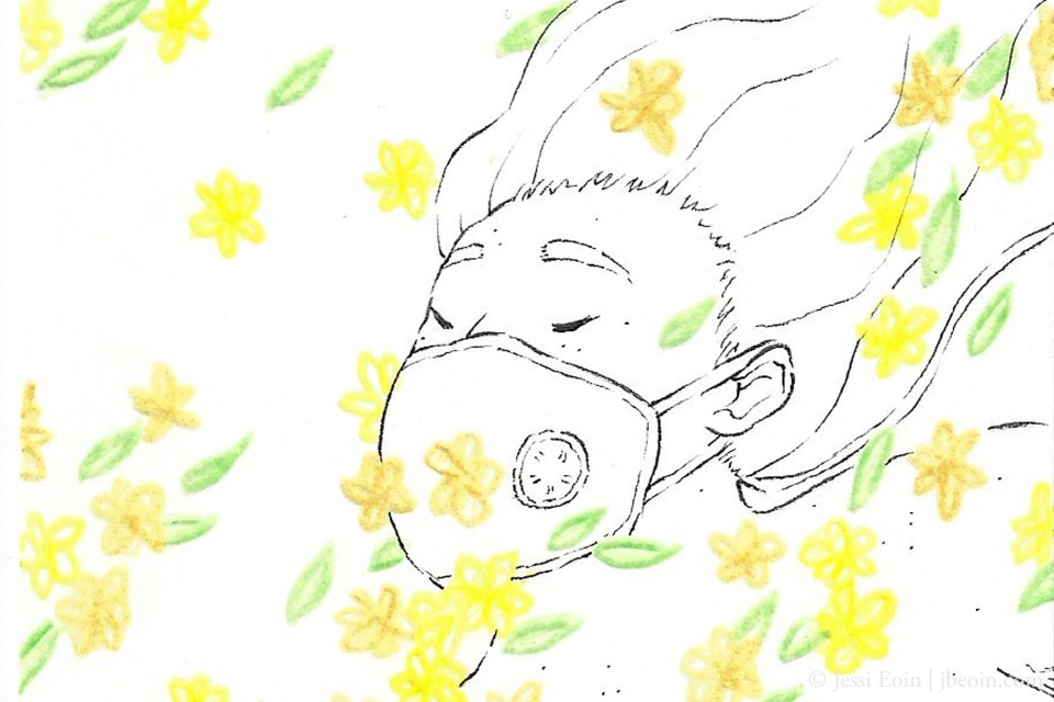 A photo of a minimalist illustration of a person wearing a VogMask and falling dreamily into a wave of yellow flowers as their hair flies back behind them and they close their eyes calmly.