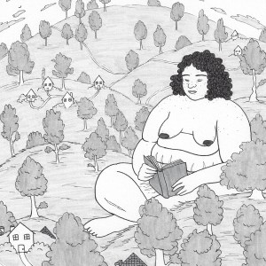 A photo of a black and white illustration of a fantastical setting of rolling hills magically going upward as they go backward, sprinkled with tiny houses and trees throughout. In the midst of the trees and sitting in one of the dips between the hills is a fat, nude, giant person with kinky, dark hair and acne on their face and shoulders sitting peacefully and reading a book in their lap. They have several stretch marks and cellulite on their belly and legs, as well as a scar on their shin. At the top, in the background, is a sun in the middle, surrounded by clouds floating a fish eye perspective to give the piece a fantasy feeling.