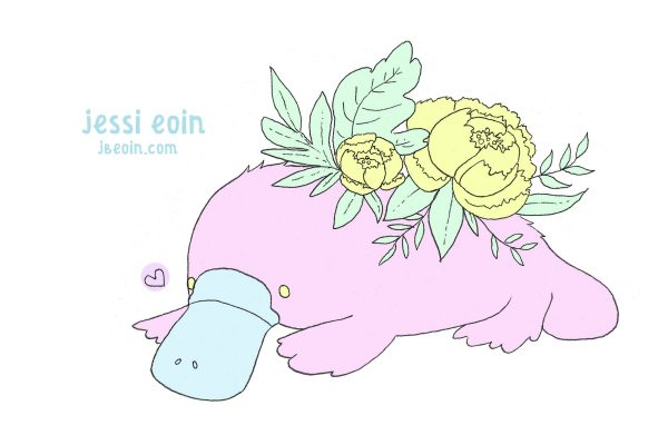 A pastel, colorful, pink and blue platypus with a big yellow peony on its back with green leaves.