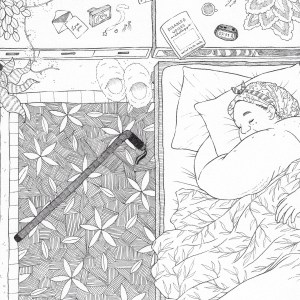 """A photo of a black and white illustration of a fat, Black person lying in their bed, fast asleep, with their hair protected in a monstera-print silk scarf tied around their head with the knot at the top. They're lying on their belly with one arm tucked under their pillow with their head turned toward the edge of the bed and their face tucked cozily under their acne-scarred shoulder. They're sleeping under a leafy blanket, and there's a hand visible from their partner resting over their belly. There's a large rug under their bed with a hatched texture and a slightly abstract pattern of leaves and flowers; lying on top of it is their cane and a pair of fuzzy slippers touching the edge of a pair of drawers and shelves behind the bed and under a large window with the striped curtains drawn shut. On the dresser is a variety of items: a letter is loose from its envelope, and it reads """"Love You"""" next to a photo of a pair of people with their arms around one another; some simple jewelry lies in front of the frame, one with a star on it; a daily pill caddy lies nearby, next to several blown out candles with used matches lying next to them; a book titled """"Disabled Voices Anthology,"""" edited by sb. smith; a mug of cold tea; and an alarm clock showing 7:31 AM as the time. Also along the dresser are a couple of fluffy, potted plants (a fittonia and a calathea), as well as a string of twinkle lights that drapes over the edge to trail lightly along the floor next to another potted plant (a snake plant). There's a final potted plant (a dracaena) in the bottom left corner of the piece on the floor."""