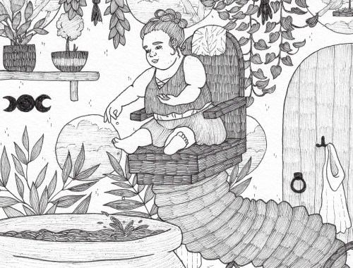 A photo of a black and white illustration of a fat witch with achondroplasia using a magical wheelchair that is able to extend itself up to hoist the witch above a very large cauldron filled with a liquid. The witch is smiling as they drop tiny ingredients from their hand into that liquid. The witch has their straight hair tied up in a loose bun, and they're wearing a flowy, cropped shirt that exposes their stretch mark covered midriff, and a flowy, short skirt. On the back of their chair is a botanical blanket, reflecting their environment, which is an indoor space with lots of room and filled with plants of every shape, some hanging from the ceiling in knotted ropes, some resting on a shelf in front of rounded windows, more potted ones sitting on the floor in the background in front of shorter rounded windows, and some sitting potted on the floor in the foreground and peering up from the bottom of the illustration. Near these plants is a desk with a single flower in a clear vase, as well as a couple of sheets of paper and a pencil. The cauldron itself is very textured, and it has a royal looking sigil on its side, as well as handles. There's wooden door in the background along the same wall as the windows, and it has two hooks on it-- one for little people and one for non-little people. The shorter hook has a cape with a hood hung upon it, and it's next to the handle that is shaped in an old-fashioned style. Through the windows, we can see a forest close by, and in one of the windows above the door, we see a bird eating at a covered bird feeder.