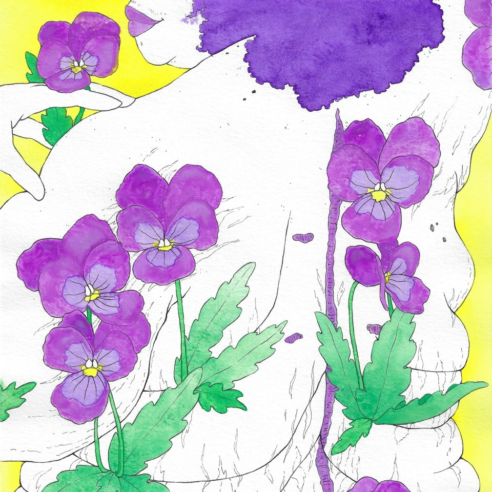 A close up of the piece Winter Flower: Viola.