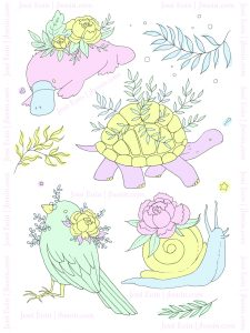 A compilation of flowery animal friends in colorful, pastel colors, all with some sort of plants or flowers adorning them. There are a snail, a platypus, a tortoise, and a bird, along with a couple of leafy plant doodles here and there in greens and yellows. Snail description: A pastel, colorful, blue and yellow snail wearing a pink peony and green leaves on its shell. Platypus description: A pastel, colorful, pink and blue platypus with a big yellow peony on its back with green leaves. Tortoise description: A pastel, colorful, pink and yellow tortoise with lots of green, viney leaves sprouting from its shell. Bird description: A pastel, colorful, green bird wearing a tiny pair of pince-nez glasses and covered in a yellow peony and other tiny flowers. Jessi's watermark is all around the image as Jessi Eoin | jbeoin.com.