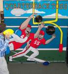 """Football throwing carnival game called """"Quarterback Toss""""."""