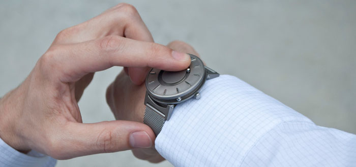 The Bradley Timepiece tactile wristwatch. (Credit: Kickstarter by Eone)