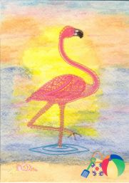 Flamingo Designed for the I.O.L.I. magazine. It can be made with regular legs or straight legs, like a garden ornament. The background was painted using watercolor pencils
