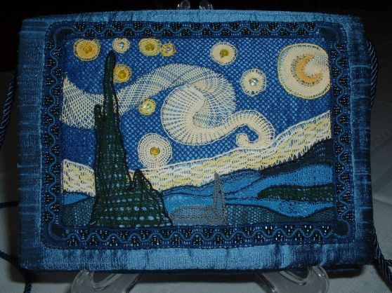 """Starry Night Evening Purse 2007, Designed for the I.O.L.I. competition """"Lace Heaven"""" in Tulsa, Oklahoma"""