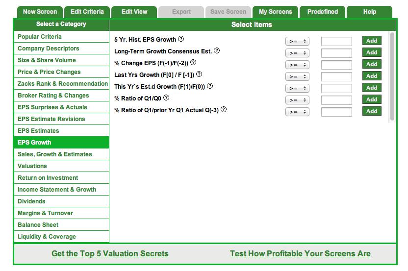 Best stock options screener
