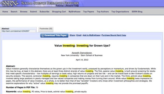 value investing SSRN