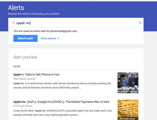 google alerts apple inc