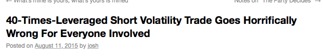 What can happen if volatility trading goes wrong