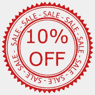 """10% OFF"" sale sign"