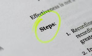 A piece of paper where the word steps is circled