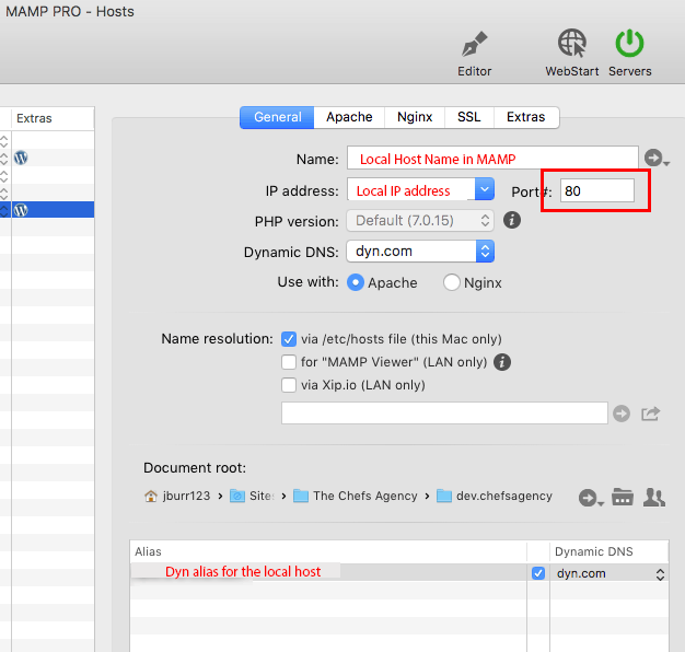 screenshot of MAMP Pro settings