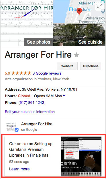 Google Post in SERP