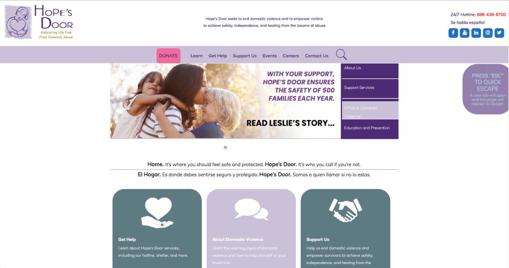 Hopes Door NY Website screen grab