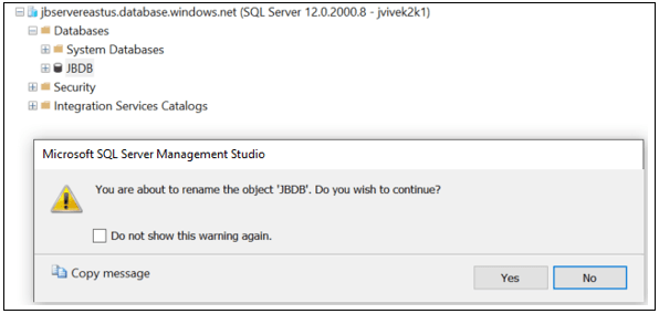 The operation cannot be performed since the database 'JBDB' is in a replication relationship. (Microsoft SQL Server, Error: 40680)