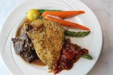 Due Plate: Parmesan Crusted Chicken with Ale Braised Beef, Garlic Mashed Potatoes and Roasted Seasonal Vegetables.