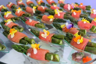 Roasted Asparagus Spears Wrapped in Smoked Salmon