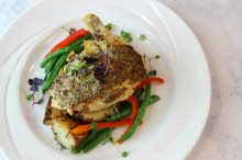 Mustard Seed Chicken, Roasted Rosemary Potatoes, and Fresh Green Beans with Red Peppers
