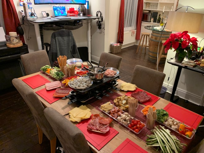 New Years eve Fondue and Raclette preperation.