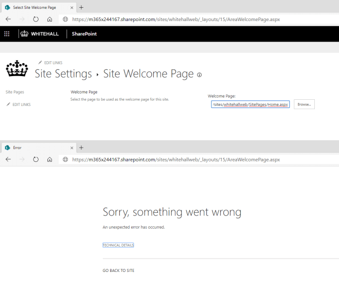 Screenshot of the welcome page site settings page.