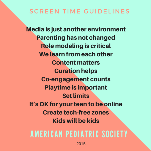Screentime guidelines