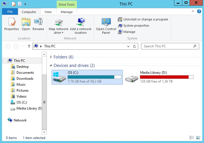 separate drive for OS and for media library